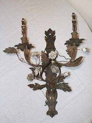 antique hand made wrought brass porcelain ornate electric 2 arm wall sconce