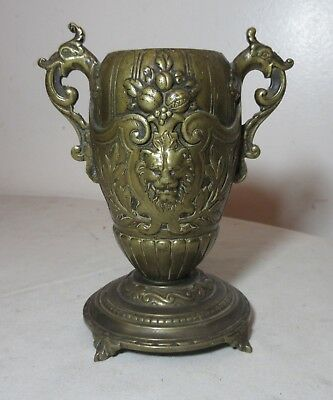antique 1800's French Victorian figural ornate gilt bronze figural urn vase