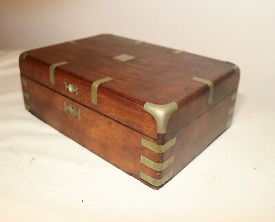 antique 1800's hand nickel plated brass mounted mahogany wood cigar jewelry box