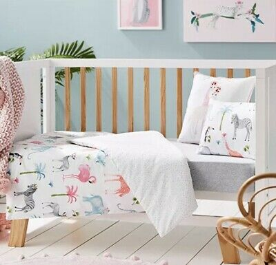 Brand New Adairs Kids FLORAL JUNGLE Cot Quilt Cover Set