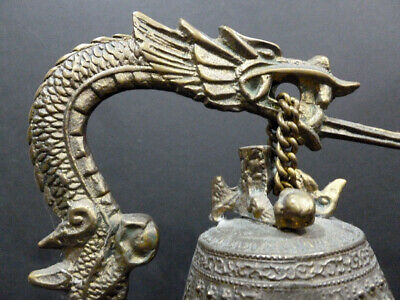 Unique Chinese Bronze Stand W/ Dragon Bell  Statue Wow Sound Loud & Clear 7355