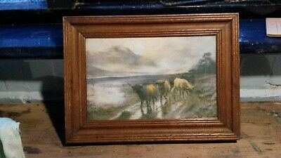 Antique Watercolour or Print in Lovely Wooden Frame Scottish Scenery