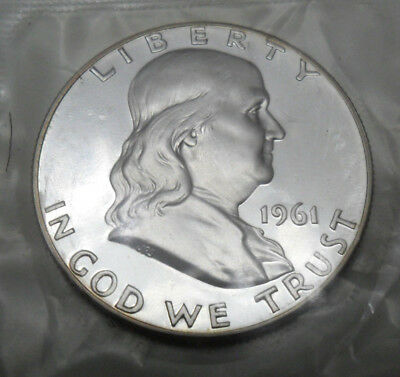 1961 Ben Franklin Half *90% Silver Proof*  *cameo Obverse*  **free Shipping**