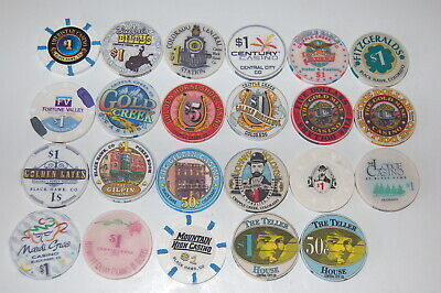 Colorado Casino Poker Chip chips lot of 23 Central City Cripple Creek Rare