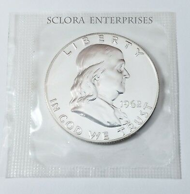 1962 Ben Franklin Half Dollar *uncirculated 90% Silver Proof*  **free Shipping**