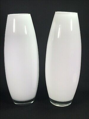 """Pair White Glass 12.5"""" Tall Vases Handcrafted & Mouthblown in Poland"""