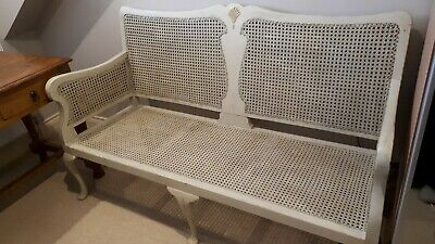 Stunning Vintage French Painted Rattan Seat