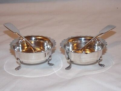 2 Sterling Silver Henry Williamson Footed Salt Dishes 1917 & J Williams Spoons