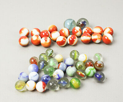"Lot of 50 Vintage 5/8"" And 2 Shooters Clear & Milk Glass Marbles Ribbon Cats Eye"