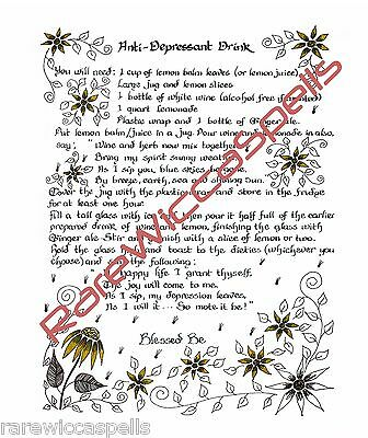 HEALING SPELL FOR Anti Depression Drink Wicca Book of Shadows Spell