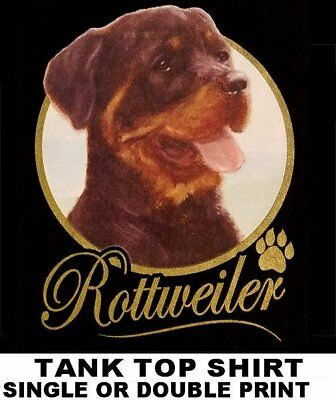 Very Classy Cool Rottweiler Dog Art With Gold Lettering Dog Tank Top Shirt Xt715