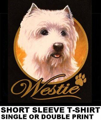 Very Classy Cool Westie Dog Art With Gold Lettering Dog T-Shirt Xt705