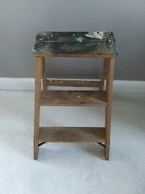 Vintage Rustic Primitive Farm Country Wooden Step Ladder Folding Stool 2 Step