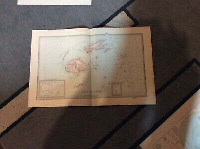 Vintage map Fiji islands 1888 by picturesque atlas co