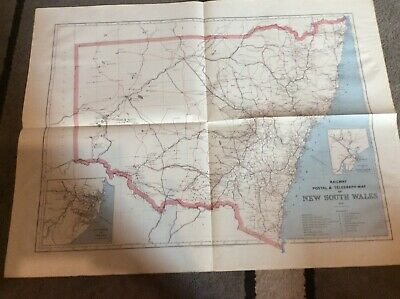 Picturesque atlas company map 1886 New South Wales railway postal and telegraph