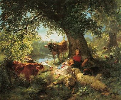 oil painting Koller Mittagsruhe Midday Rest mother child & sheep cows landscape