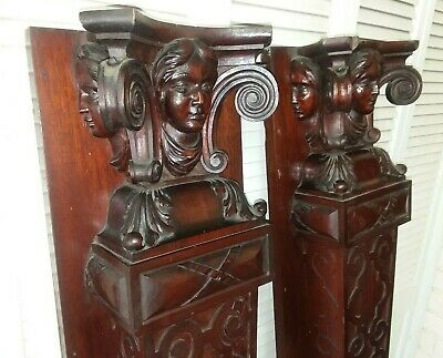 c.1890's ANTIQUE CARVED FIREPLACE MANTEL COLUMNS ARCHITECTURAL SALVAGE PILLARS