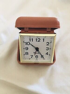 Vintage WESTCLOX Portable Carry Foldable Clock In Case Wind Up Clock WORKS