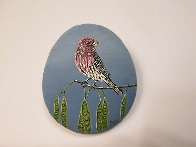 House Finch hand painted on a rock by Ann Kelly