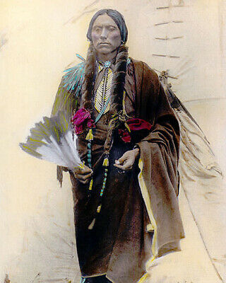 "QUANAH PARKER NATIVE AMERICAN COMANCHE 1909 11x14"" HAND COLOR TINTED PHOTOGRAPH"