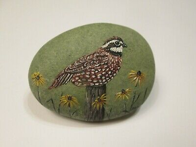 Bobwhite hand painted on a rock by Ann Kelly