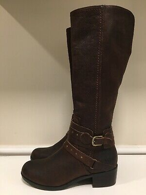 1241974ce9f UGG AUSTRALIA ESPLANADE Brown Leather Buckle Detail Riding Boots Women's 7  EUC!