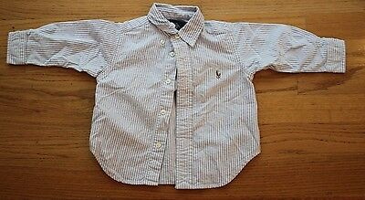 RALPH LAUREN Polo Boy 12M Long Sleeve Dress SHIRT Light Blue/White Stripe EUC!
