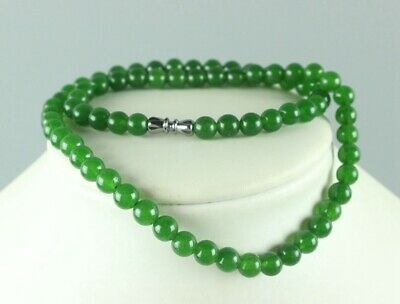 Chinese Beautiful Handcarved 100% Natural Jade Beads Green womens Necklaces