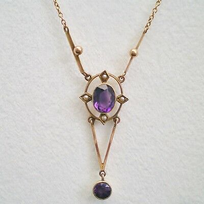 Stunning Antique Art Deco 9ct Gold Amethyst & Pearl Drop Necklace c1925