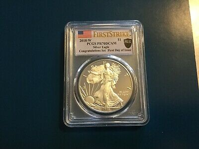 2018 W Silver Eagle Pf70 Pcgs Fs-First Day Of Issue Congratulations. Pcgs Label