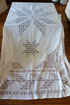Antique Linens- English  Cloth ,Bedspread W/Folk Art Star Design,Tenerife Lace