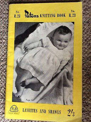 Vintage Patons Baby Knitting Pattern Book No R 23 Layettes Shawls