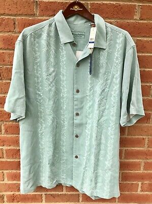 TOMMY BAHAMA MENS SILK ST LUCIA FRONDS PLUM RAISIN CAMP SHIRT XL 2XL 3XL NWT