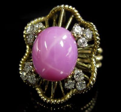 Antique Cocktail Ring 9.54CT Pink Star Sapphire VS Diamond 14K Yellow Gold 10.7g