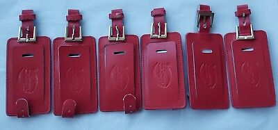 Genuine Leather Strap Luggage Bag Tags, Travel Privacy Flap, Red, 6 PCS NEW