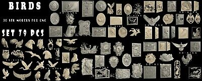 79 PCS STL 3D Models # BIRDS HUGE SET #  for CNC 3D Printer Engraver Carving