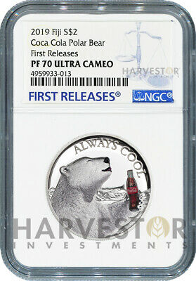 2019 Coca-Cola Polar Bear - Always Cool - Silver Coin - Ngc Pf70 First Releases