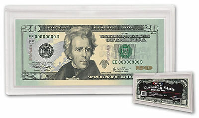 LOT of 20 NEW Currency Bill Holders Deluxe Quality Clear plastic Snap SLABS BCW