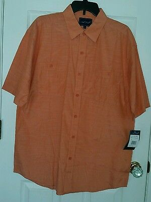 dff7becc NOB HILL Orange Button Front Short Sleeve Casual Shirt MENS LARGE NWT $42  Retail