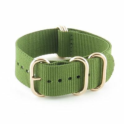 StrapsCo Heavy Duty 5 Ring Nylon Watch Strap in Green Band w/ Rose Gold Rings