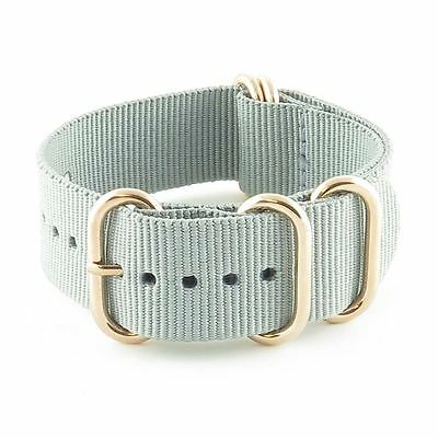 StrapsCo Heavy Duty 5 Ring Nylon Watch Strap in Grey Band w/ Rose Gold Rings