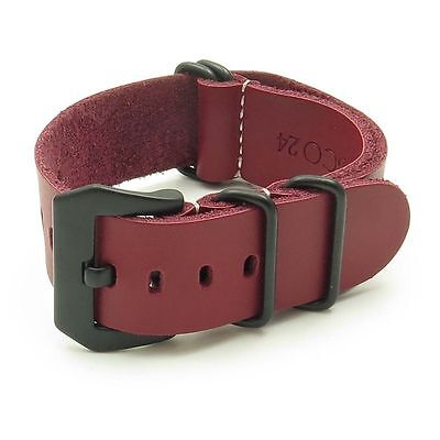 StrapsCo Red Leather Military Watch Band Strap w/ Matte Black PRE-V Buckle
