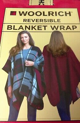 Woolrich Reversible Blanket Wrap One Size Fits All Red Gray Black Poncho $60.
