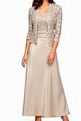 b11d2985395c Alex Evenings NEW Beige Champagne Womens Size 8 Lace Sateen Gown $179- 231