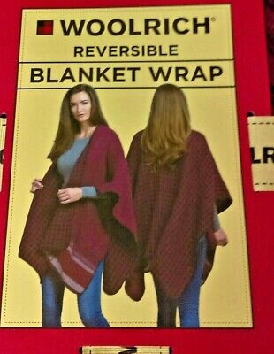 Woolrich Reversible Blanket Wrap One Size Fits All Burgundy Black Poncho $60.