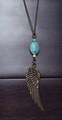 Vintage Women's Tibetan Chain Silver Plated Turquoise Pendant Feather Necklace