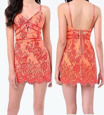 NWT bebe coral red lace floral cutout deep v neck bustier top dress XS size 2