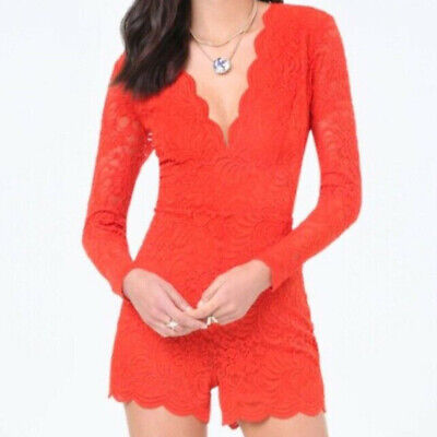 NWT bebe red overlay lace scallop deep v long sleeve top dress romper S / M 6