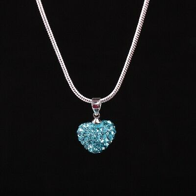 Fashion Women Pendant Jewelry Crystal Heart Silver Plated Necklace+Chain Gift