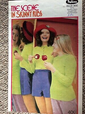 Vintage Patons Knitting Pattern Book 966 The Scene in Skinny Ribs 1970s Fashion